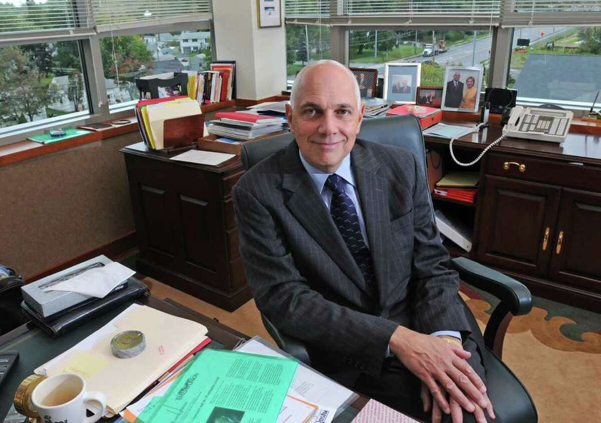 NYSUT president Richard Iannuzzi sits in his office in Latham, NY on September 29, 2009. For Waldman cap profile. (Lori Van Buren / Times Union)