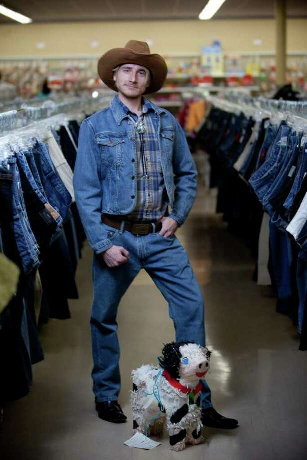 "Aaron Bergemann models a ""cowboy"" costume