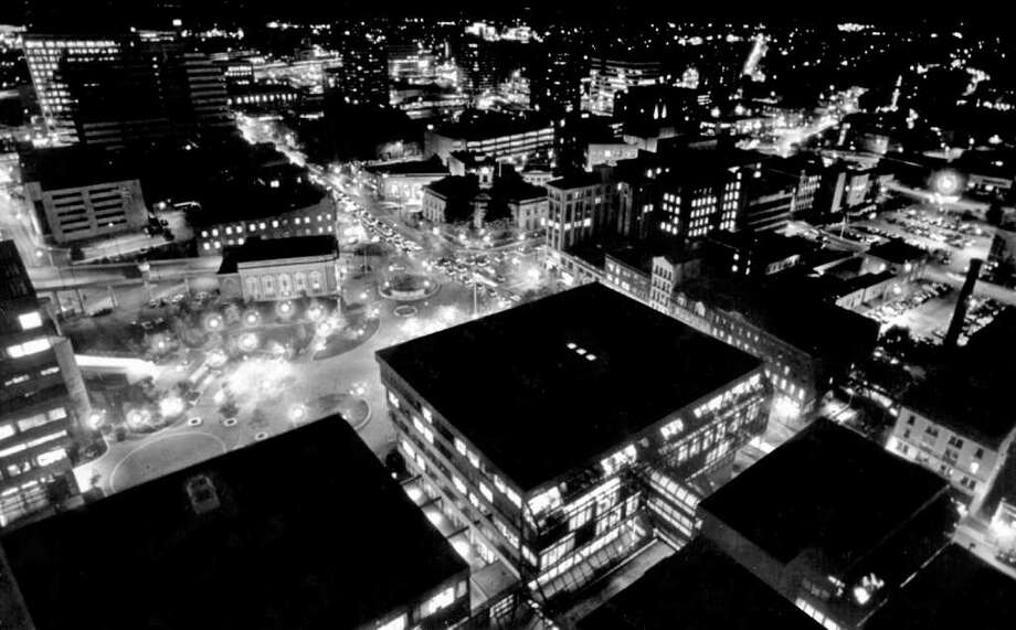 Oct. 31, 1986: A nighttime view of Stamford's Veterans Park and Atlantic Street from the 23rd floor of thet Landmark Tower. Photo: File Photo