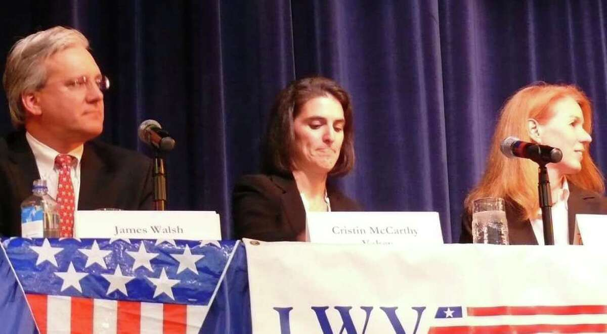 Candidates for selectmen, from left, incumbent Republican James Walsh, Democrat Cristin McCarthy Vahey and Independent Deanna Polizzo took part in a forum sponsored by the League of Women Voters.