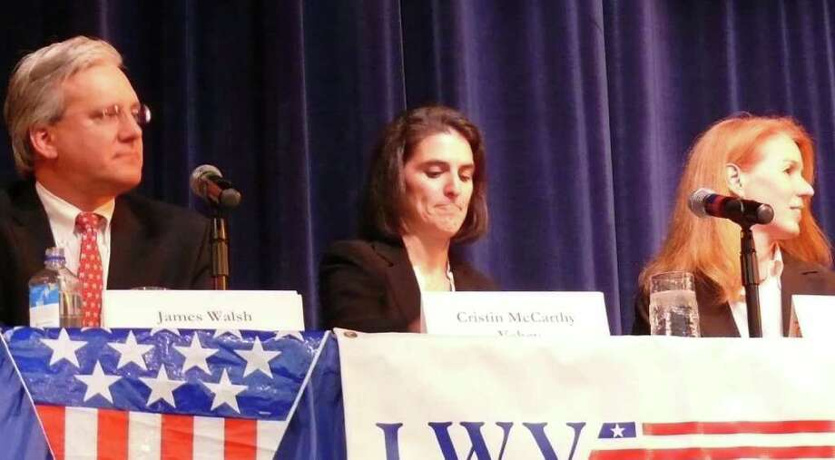 Candidates for selectmen, from left, incumbent Republican James Walsh, Democrat Cristin McCarthy Vahey and Independent Deanna Polizzo took part in a forum sponsored by the League of Women Voters. Photo: Genevieve Reilly / Fairfield Citizen