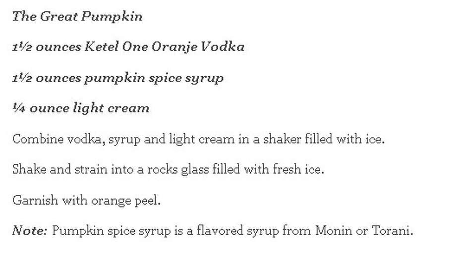 The Great Pumpkin recipe Photo: Hou