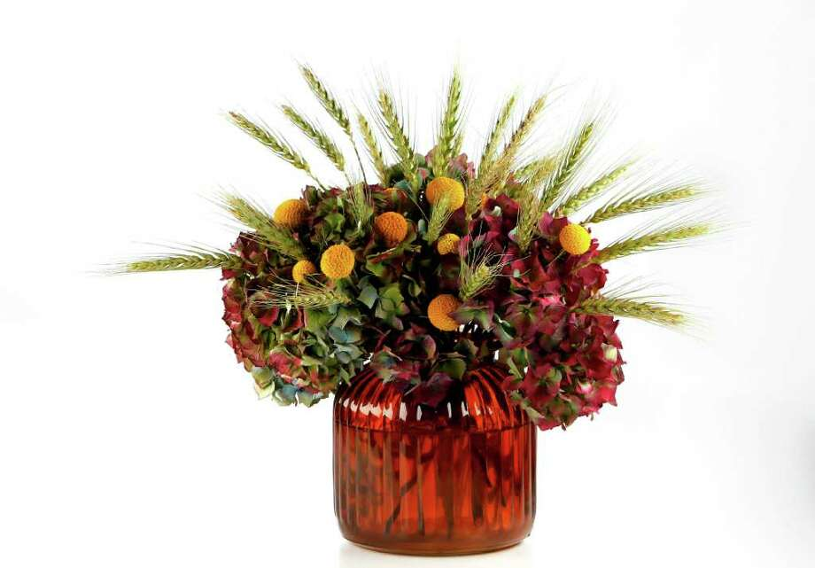 Create this arrangement of hydrangeas, billy balls and millet for fall celebrations. Photo: Mayra Beltran, Staff / © 2011 Houston Chronicle