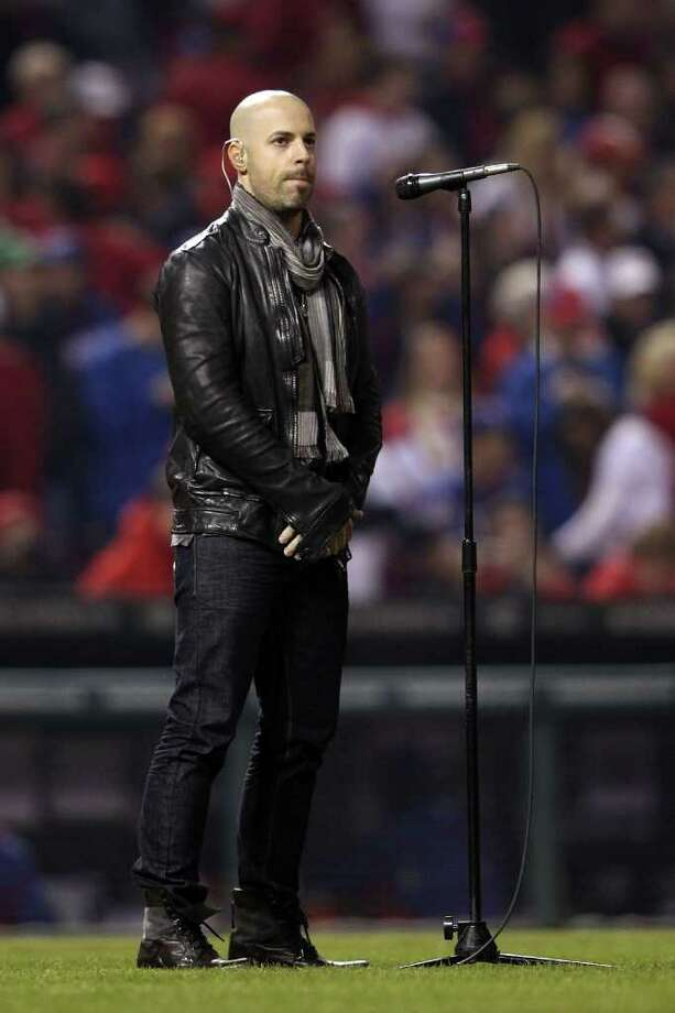 ST LOUIS, MO - OCTOBER 28: Singer Chris Daughtry performs the national anthem prior to Game Seven of the MLB World Series between the Texas Rangers and the St. Louis Cardinals at Busch Stadium on October 28, 2011 in St Louis, Missouri. Photo: Jamie Squire, Getty / 2011 Getty Images