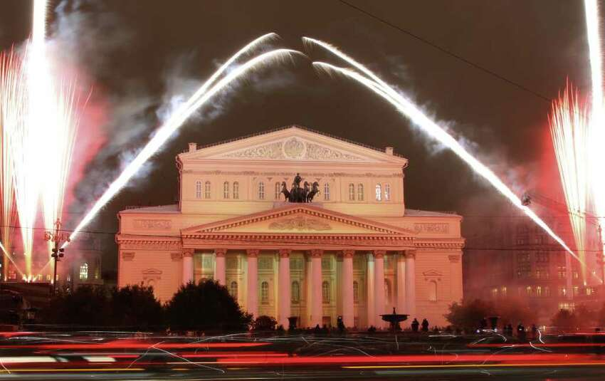 Fireworks are seen during the re-opening of the Bolshoi Theater in Moscow, Russia, Friday, Oct. 28, 2011. Russia's Bolshoi Theater reopened Friday after a massive reconstruction effort that restored it to its original imperial splendor.