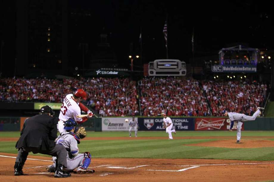 ST LOUIS, MO - OCTOBER 28:  David Freese #23 of the St. Louis Cardinals hits a two-run double in the first inning during Game Seven of the MLB World Series against the Texas Rangers at Busch Stadium on October 28, 2011 in St Louis, Missouri. Photo: Ezra Shaw, Getty / 2011 Getty Images