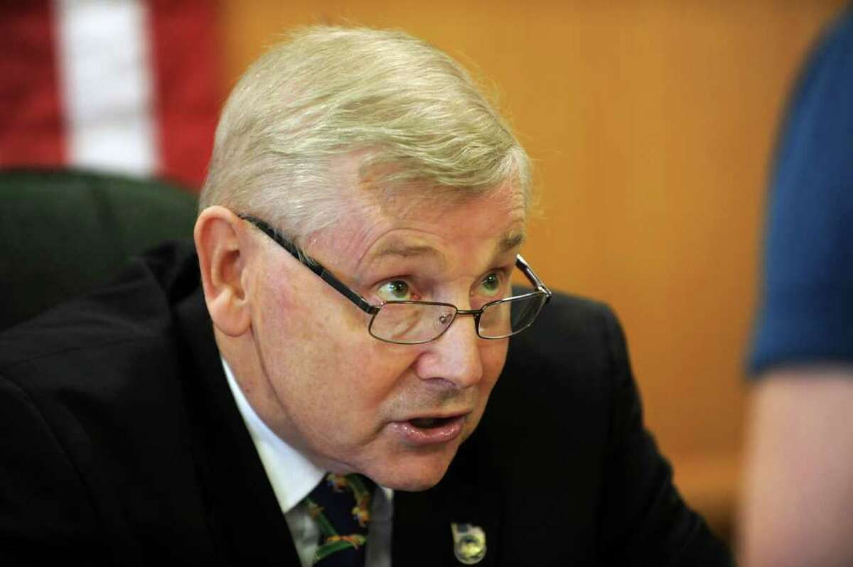 Town of Saratoga supervisor Tom Wood talks to people after getting sworn in as chairman of the board in Ballston Spa, NY on January 3, 2011. Wood is replacing outgoing supervisor Bill Peck. (Lori Van Buren / Times Union)