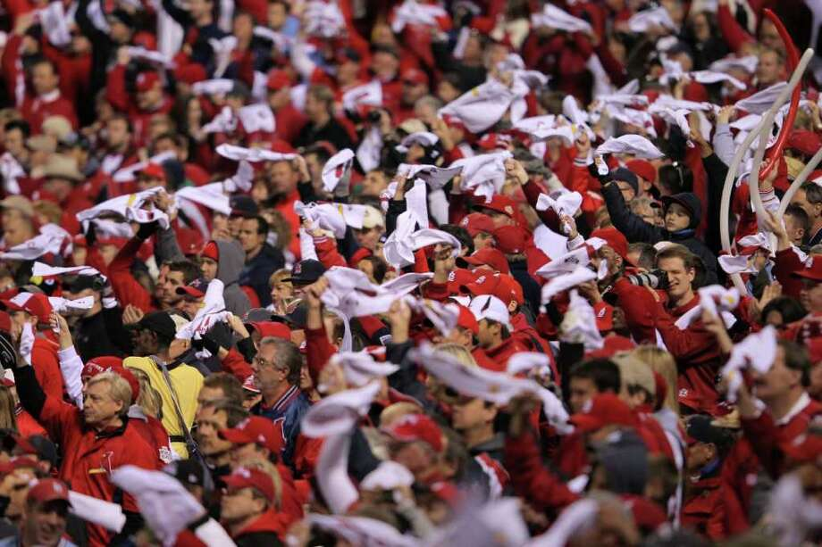 ST LOUIS, MO - OCTOBER 28: Fans wave rally towels during Game Seven of the MLB World Series between the Texas Rangers and the St. Louis Cardinals at Busch Stadium on October 28, 2011 in St Louis, Missouri. Photo: Doug Pensinger, Getty / 2011 Getty Images