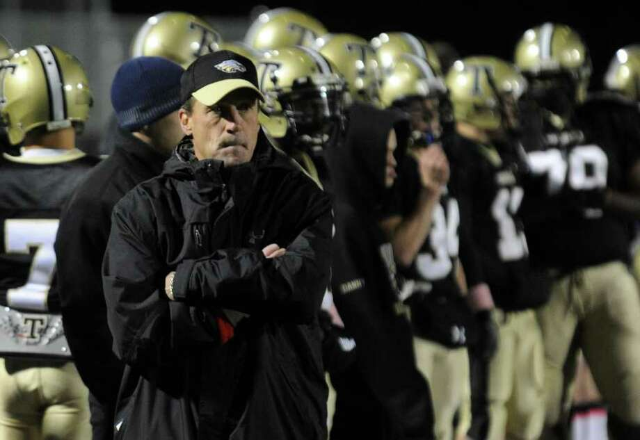 Highlights from boys football action between Trumbull and Danbury in Trumbull, Conn. on Thursday October 28, 2011. Trumbull Head Coach Robert Maffei. Photo: Christian Abraham / Connecticut Post