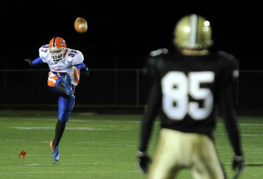 Highlights from boys football action between Trumbull and Danbury in Trumbull, Conn. on Thursday October 28, 2011. Photo: Christian Abraham / Connecticut Post