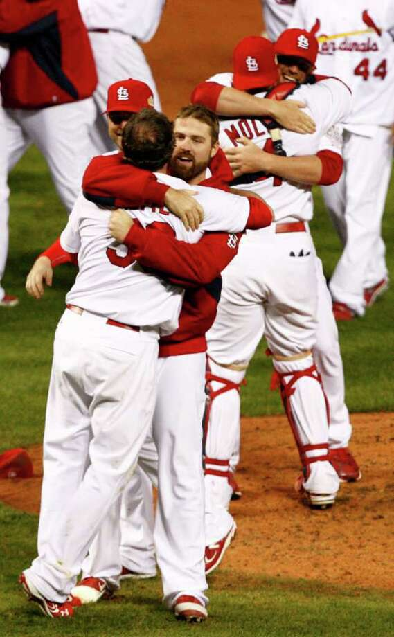 The St. Louis Cardinals celebrate a 6-2 win over the Texas Rangers in Game 7 of the World Series at Busch Stadium in St. Louis, Missouri, on Friday, October 28, 2011. (Ron T. Ennis/Fort Worth Star-Telegram/MCT) Photo: Ron T. Ennis, McClatchy-Tribune News Service / Fort Worth Star-Telegram