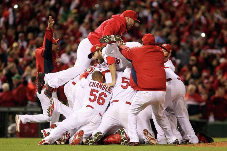 ST LOUIS, MO - OCTOBER 28:  The St. Louis Cardinals celebrate after defeating the Texas Rangers 6-2 to win the World Series in Game Seven of the MLB World Series at Busch Stadium on October 28, 2011 in St Louis, Missouri. Photo: Jamie Squire, Getty / 2011 Getty Images