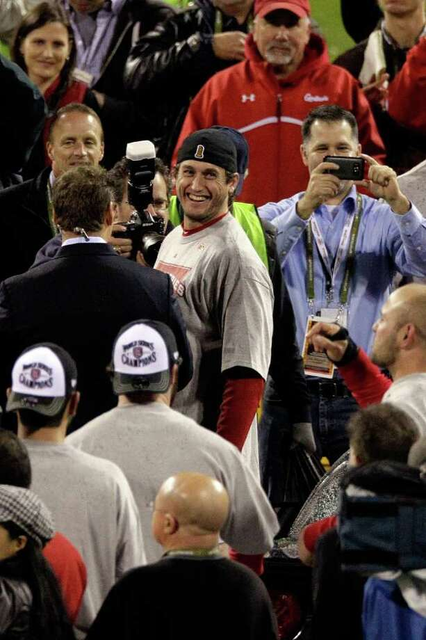 ST LOUIS, MO - OCTOBER 28:  World Series MVP David Freese #23 of the St. Louis Cardinals celebrates after defeating the Texas Rangers 6-2 in Game Seven of the MLB World Series at Busch Stadium on October 28, 2011 in St Louis, Missouri. Photo: Rob Carr, Getty / 2011 Getty Images