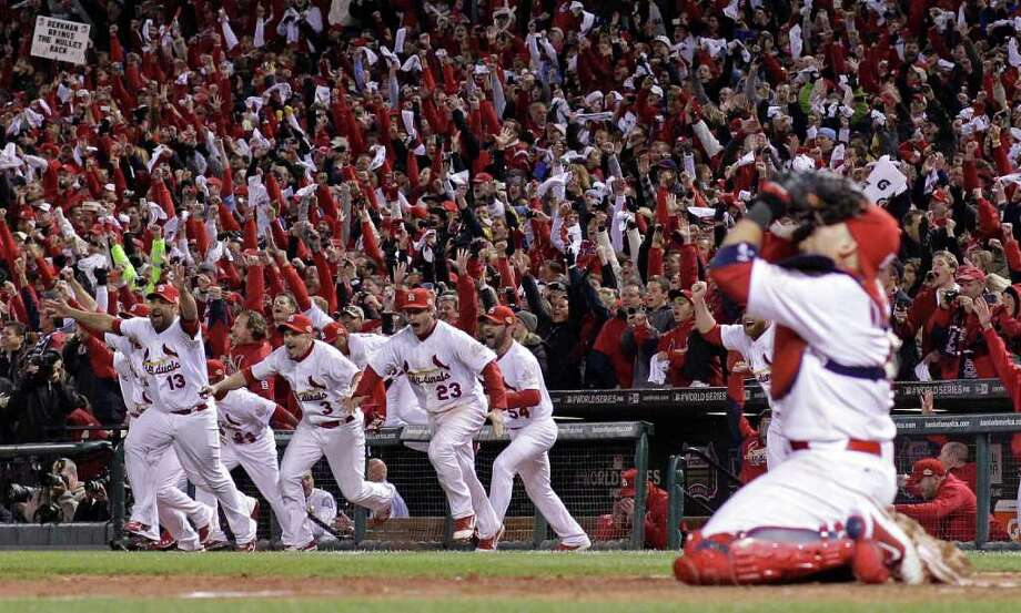 The St. Louis Cardinals celebrate after Texas Rangers' David Murphy flies out to end Game 7 of baseball's World Series Friday, Oct. 28, 2011, in St. Louis. The Cardinals won 6-2 to win the series. (AP Photo/Matt Slocum) Photo: Matt Slocum, Associated Press / AP