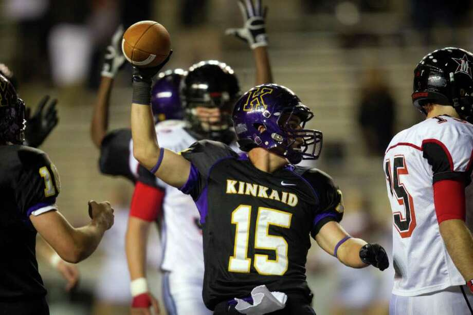 Kinkaid receiver Macan Wilson (15) celebrates after scoring during the second half of a high school football game against St. John's at  Rice Stadium, Friday, Oct. 28, 2011, in Houston. Kinkaid won the game 28-7 to claim their second straight SPC championship. Photo: Smiley N. Pool, Houston Chronicle / © 2011  Houston Chronicle