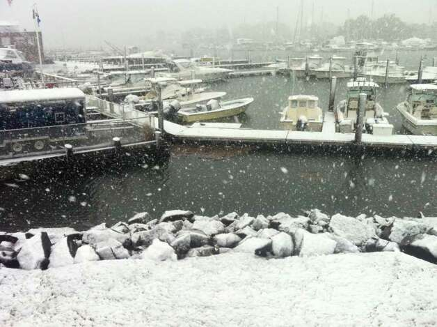 Snow covers boats at Brewer Yacht Haven Marina in Stamford, Conn. on Saturday, Oct. 29, 2011 as a freak winter storm hits Connecticut. Photo: Ben Doody