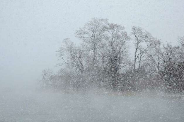 Large snowflakes create low visibility at Cove Island Park during a snow storm in Stamford on Saturday, Oct. 29, 2011. Photo: Amy Mortensen / Connecticut Post Freelance