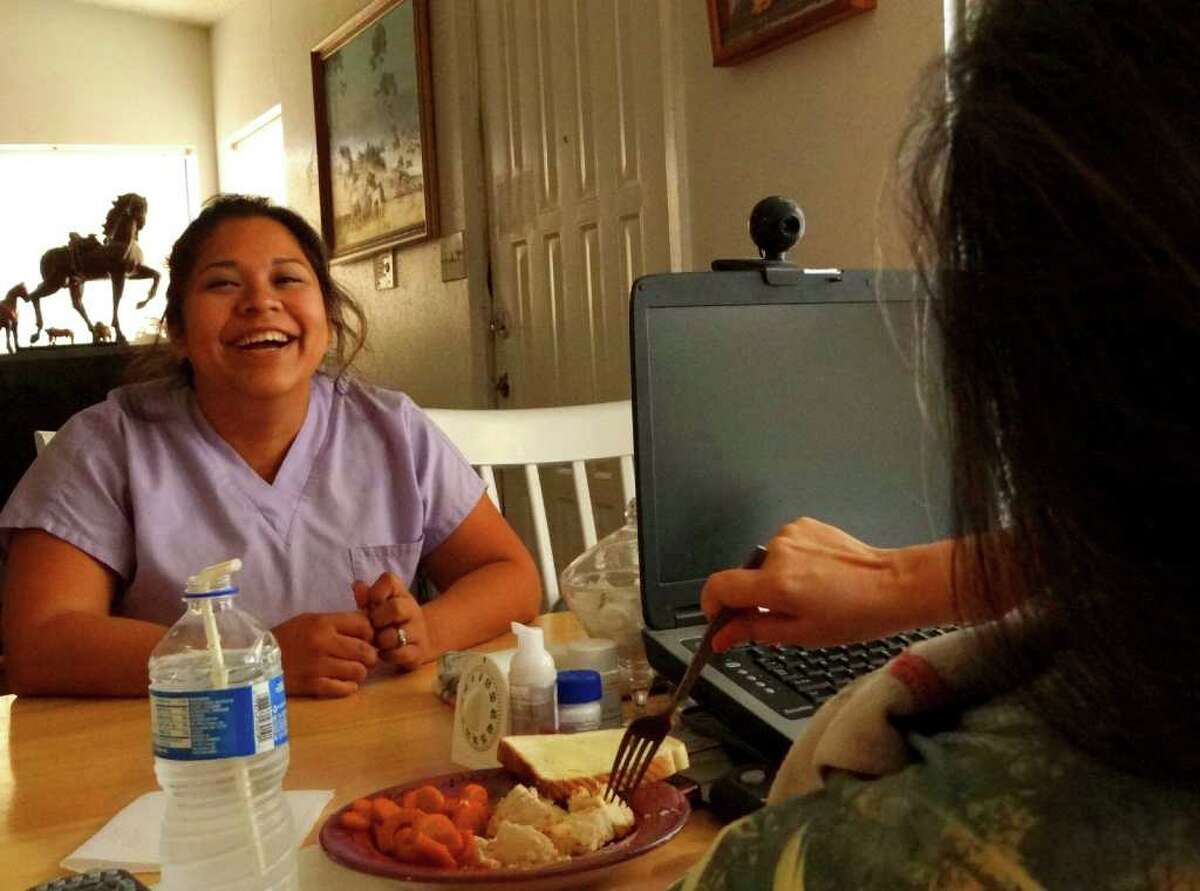 Direct care worker Maria Mullenax enjoys a laugh with Sooner Bell, whom she cares for, on Friday, Sept, 16, 2011. The two have developed a friendship. BILLY CALZADA / gcalzada@express-news.net fletcher stoeltje story