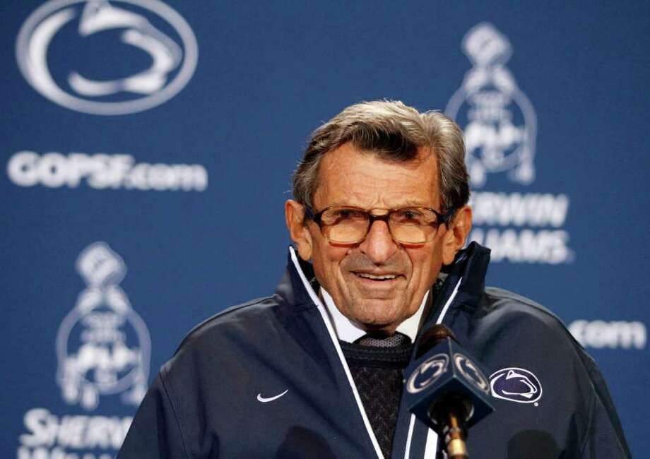 STATE COLLEGE, PA - OCTOBER 29:  Joe Paterno addresses the media after the game against the Illinois Fighting Illini on October 29, 2011 at Beaver Stadium in State College, Pennsylvania.  The Nittany Lions defeated the Fighting Illini 10-7.  (Photo by Justin K. Aller/Getty Images) Photo: Justin K. Aller / 2011 Getty Images