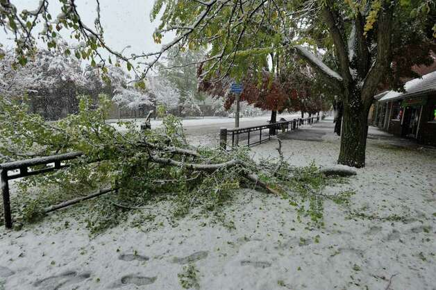A fallen branch along Main Street in Danbury on Saturday, Oct. 29, 2011. Photo: Jason Rearick