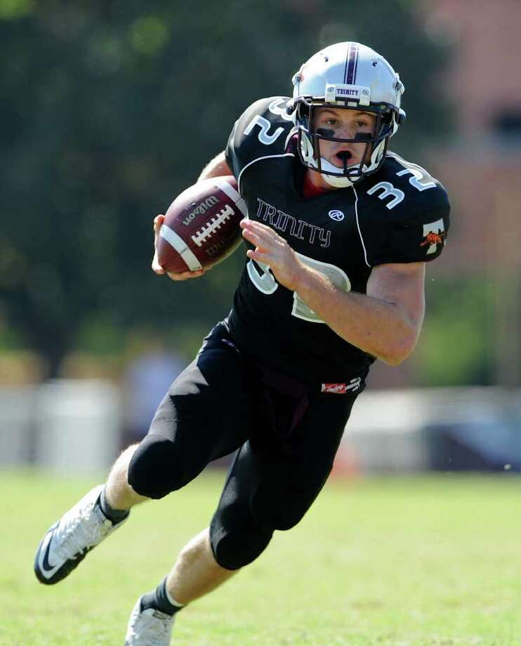 Trinity running back Patrick Granchelli (32) runs for a touchdown during a NCAA Division III football game between Birmingham Southern and Trinity University In San Antonio, Texas on October 28, 2011.