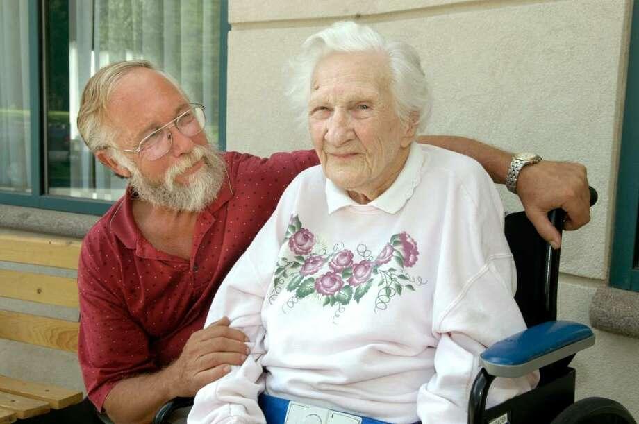 Carol Kaliff/staff photographer. Florence Kracen, 101 of New Milford with her son John Kracen, 62 of Bridgewater. Photo: Carol Kaliff / The News-Times