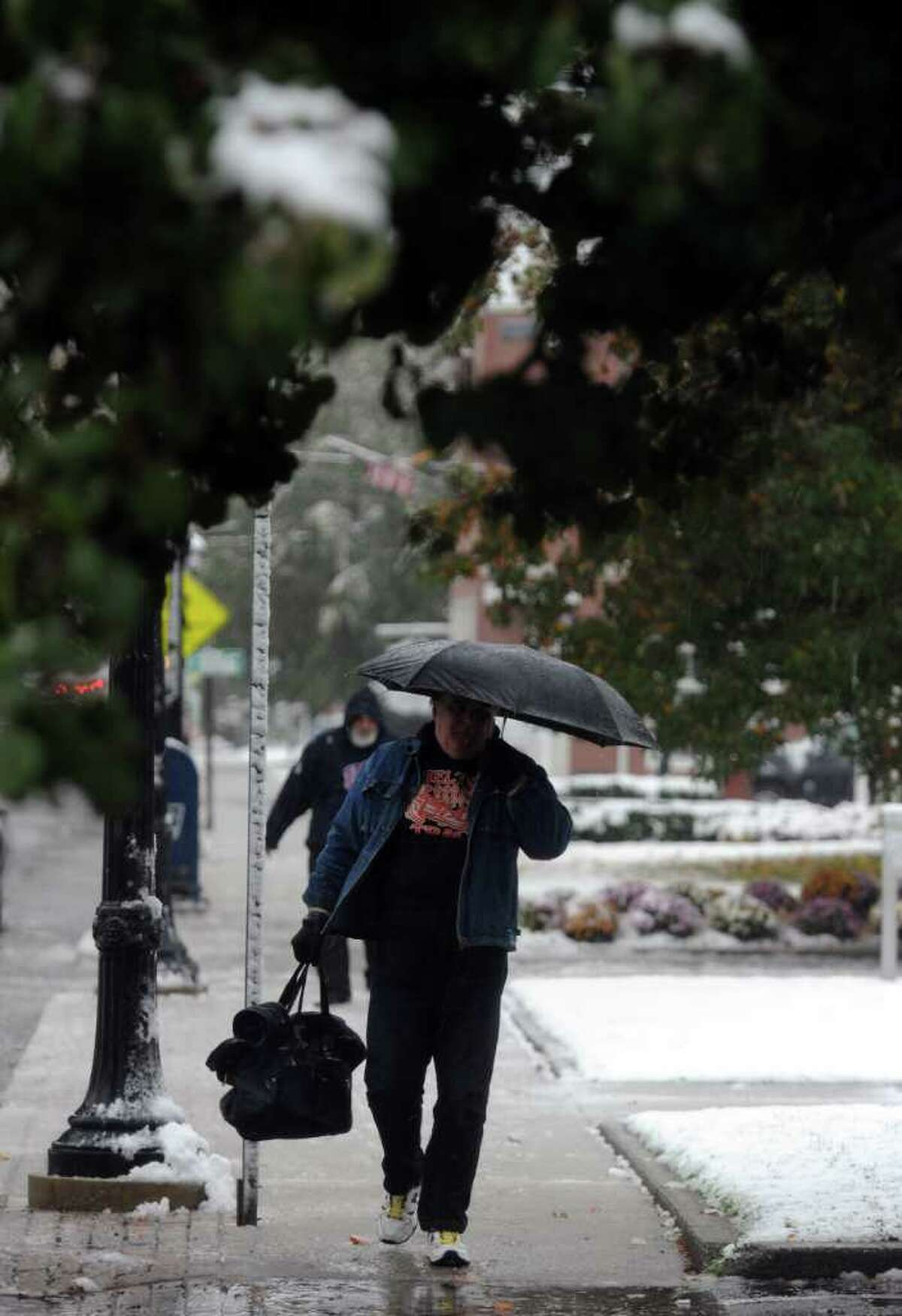 Scenes from Saturday's nor'easter as it goes through Milford, Conn. on October 29, 2011.
