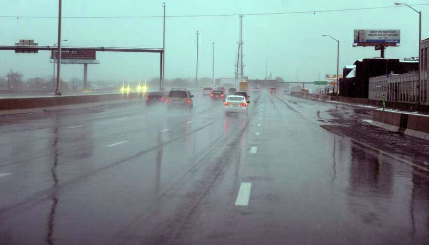 Only water was on I 95 during Saturday's nor'easter in Bridgeport, Conn. on October 29, 2011.