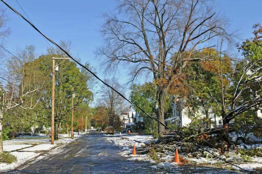 A utility line and trees are down on Elm Street following a surprise fall snowstorm the previous night, on Sunday Oct. 30, 2011 in Saugerties, NY. (Philip Kamrass / Times Union )