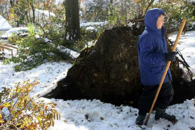 Allen Crosnier, 11, stands by a tree that fell across his lawn on Old Newtown Road in Monroe on Sunday, October 30, 2011. Saturday's nor'easter left Monroe residents without power. Photo: B.K. Angeletti / Connecticut Post