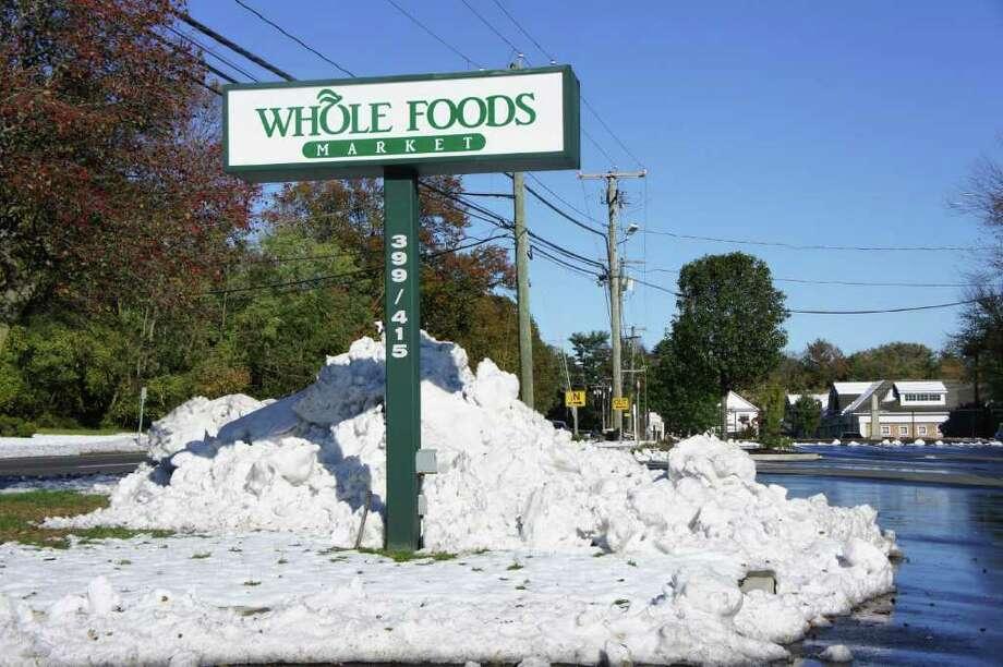 The Whole Foods Market parking lot in Westport. Photo: Paul Schott / Westport News