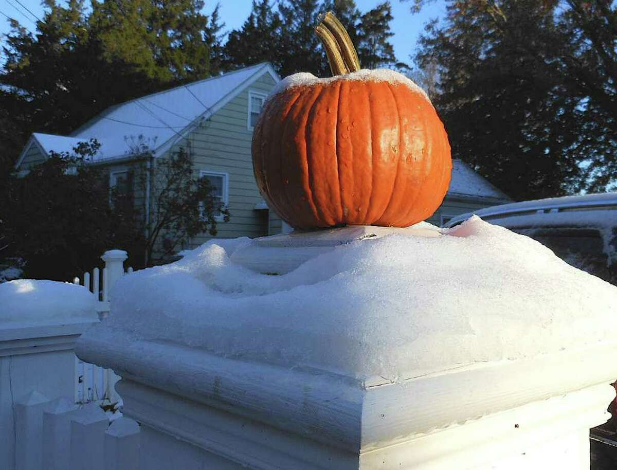 A pumpkin on a Fairfield fence post in 2011. Reports of double-digit inches of snowfall in the Danbury area included 17.2 inches in Danbury, 16 inches in Sherman and 15 inches in New Milford.