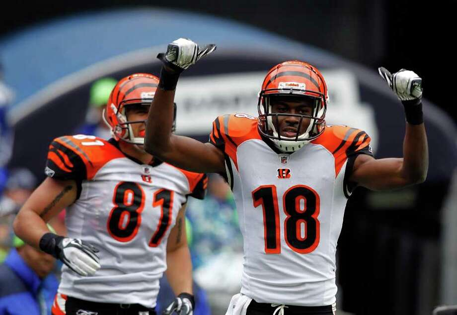 SEATTLE - OCTOBER 30:  A. J. Green #18 of the Cincinnati Bengals celebrates his touchdown catch in the second quarter against the Seattle Seahawks on October 30, 2011 at Century Link Field in Seattle, Washington. Photo: Jonathan Ferrey, Getty Images / 2011 Getty Images