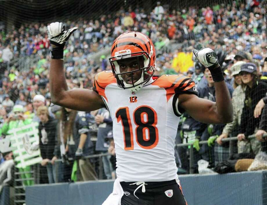 SEATTLE - OCTOBER 30:  Wide receiver A.J. Green #18 of the Cincinnati Bengals celebrates after scoring a touchdown against the Seattle Seahawks at CenturyLink Field on October 30, 2011 in Seattle, Washington. Photo: Otto Greule Jr, Getty Images / 2011 Getty Images