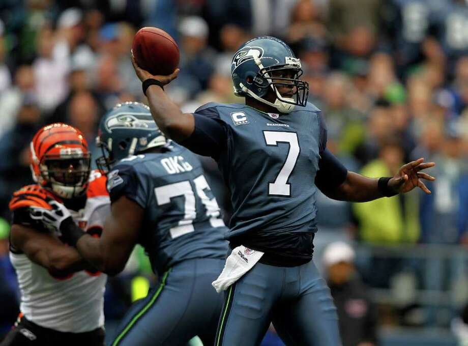 SEATTLE - OCTOBER 30:  Quarterback Tavaris Jackson #7 of the Seattle Seahawks throws a pass against the Cincinnati Bengals on October 30, 2011 at Century Link Field in Seattle, Washington. Photo: Jonathan Ferrey, Getty Images / 2011 Getty Images
