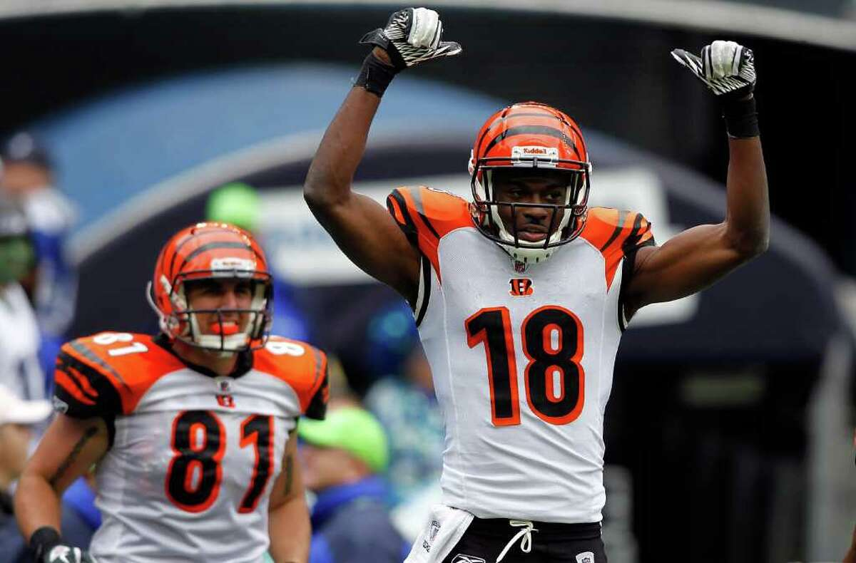 SEATTLE - OCTOBER 30: A. J. Green #18 of the Cincinnati Bengals celebrates his touchdown catch in the second quarter against the Seattle Seahawks on October 30, 2011 at Century Link Field in Seattle, Washington.