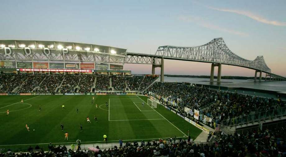 CHESTER, PA - OCTOBER 30:  The sun gives a glow over the PPL Park and the Commodore Barry Bridge during  the Philadelphia Union and Houston Dyanmo MLS soccer playoff game, October 30, 2011 at PPL Stadium in Chester, Pennsylvania. Photo: Chris Gardner, Getty / 2011 Getty Images