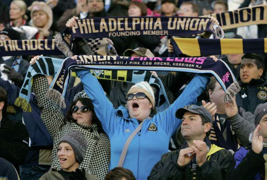 CHESTER, PA - OCTOBER 30:  A fan of the Philadelphia Union cheers before the start of their playoff game against the Houston Dynamo October 30, 2011 at PPL Stadium in Chester, Pennsylvania. Photo: Chris Gardner, Getty / 2011 Getty Images