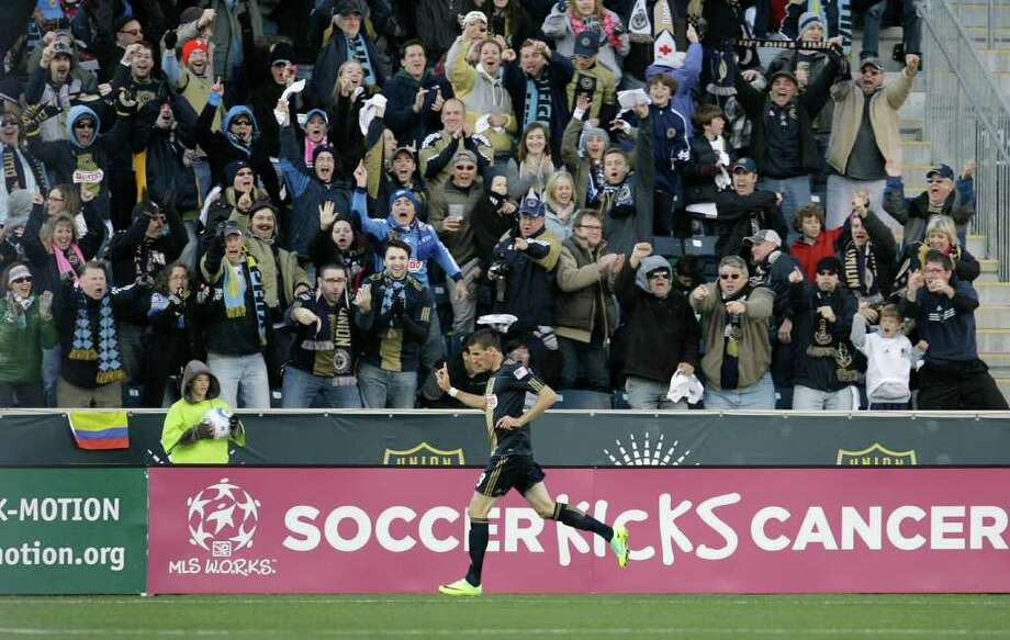 CHESTER, PA - OCTOBER 30: Sebastien Le Toux #9 of the Philadelphia Union celebrates after scoring a goal against the Houston Dyanmo during an MLS soccer playoff game, October 30, 2011 at PPL Stadium in Chester, Pennsylvania. Photo: Chris Gardner, Getty / 2011 Getty Images