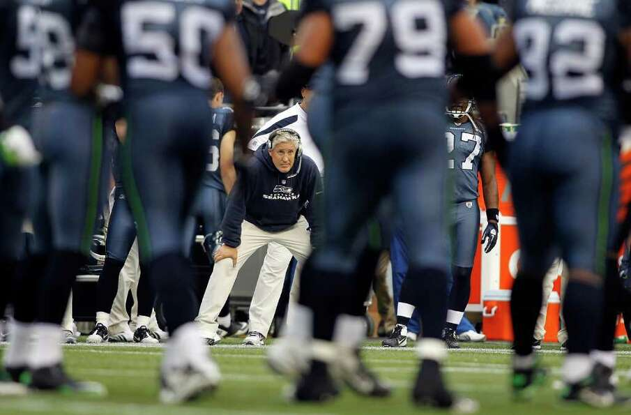 SEATTLE - OCTOBER 30:  Head coach Pete Carroll of the Seattle Seahawks watches the game against  the