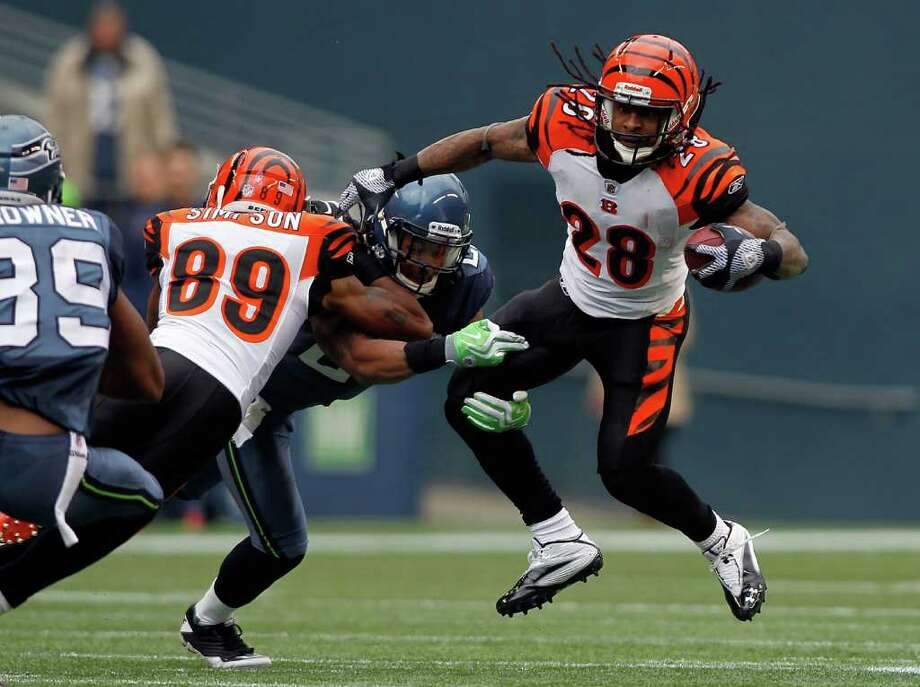 SEATTLE - OCTOBER 30:  Bernard Scott #28 of the Cincinnati Bengals runs the ball against the Seattle Seahawks on October 30, 2011 at Century Link Field in Seattle, Washington. Photo: Jonathan Ferrey, Getty Images / 2011 Getty Images