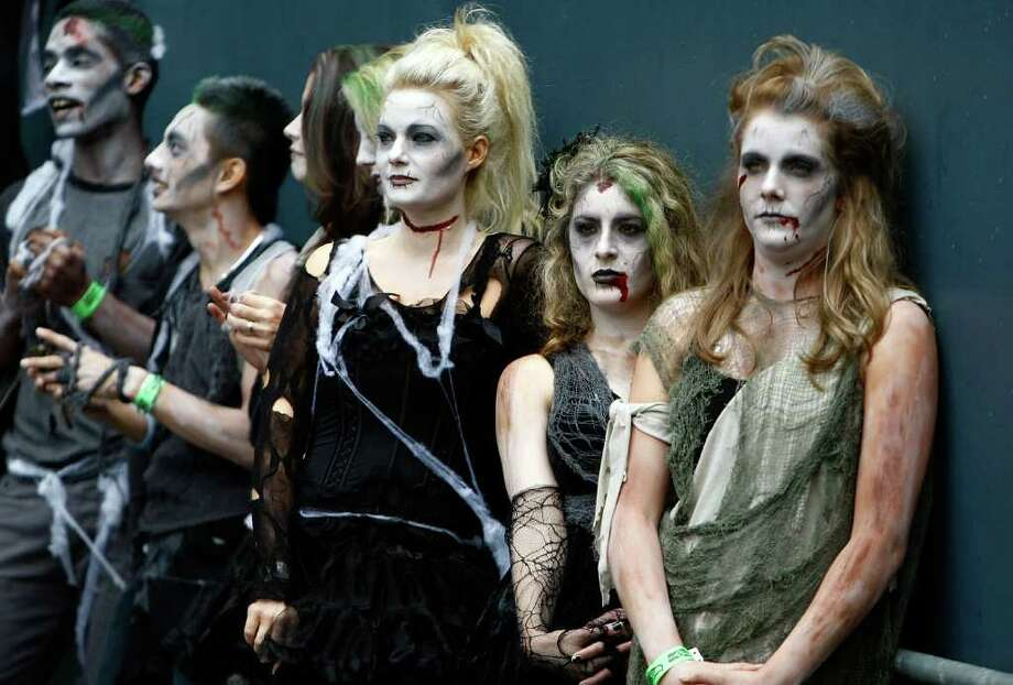 SEATTLE - OCTOBER 30:  Dancers dressed as zombies wait to preform at halftime during the game between the Seattle Seahawks and the Cincinnati Bengals on October 30, 2011 at Century Link Field in Seattle, Washington. Photo: Jonathan Ferrey, Getty Images / 2011 Getty Images