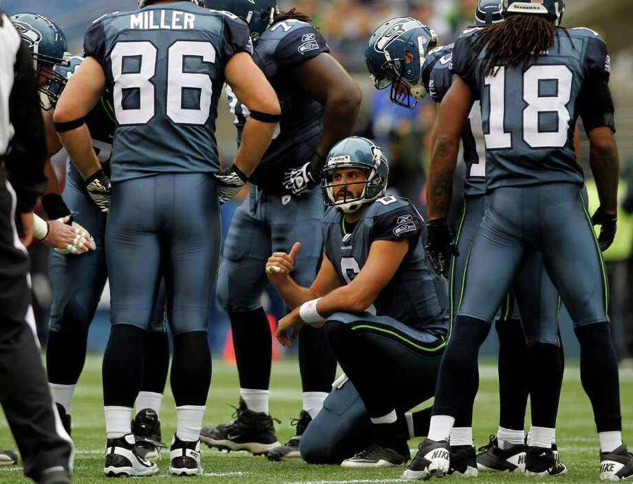 SEATTLE - OCTOBER 30:  Quarterback Charlie Whitehurst #6 of the Seattle Seahawks calls a play against the Cincinnati Bengals on October 30, 2011 at Century Link Field in Seattle, Washington. Photo: Jonathan Ferrey, Getty Images / 2011 Getty Images