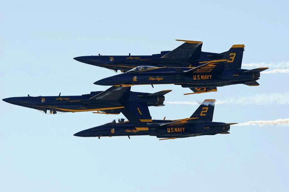 METRO -- The U.S. Navy Blue Angels performs as the finale on the last day of the Randolph Air Show, Sunday, Oct. 30, 2011.  JERRY LARA/glara@express-news.net Photo: JERRY LARA, San Antonio Express-News / SAN ANTONIO EXPRESS-NEWS