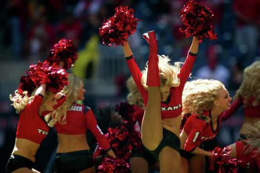 Houston Texans cheerleaders perform before the Texans face the Jacksonville Jaguars at Reliant Stadium on Sunday, Oct. 30, 2011, in Houston. Photo: Smiley N. Pool, Houston Chronicle / © 2011  Houston Chronicle