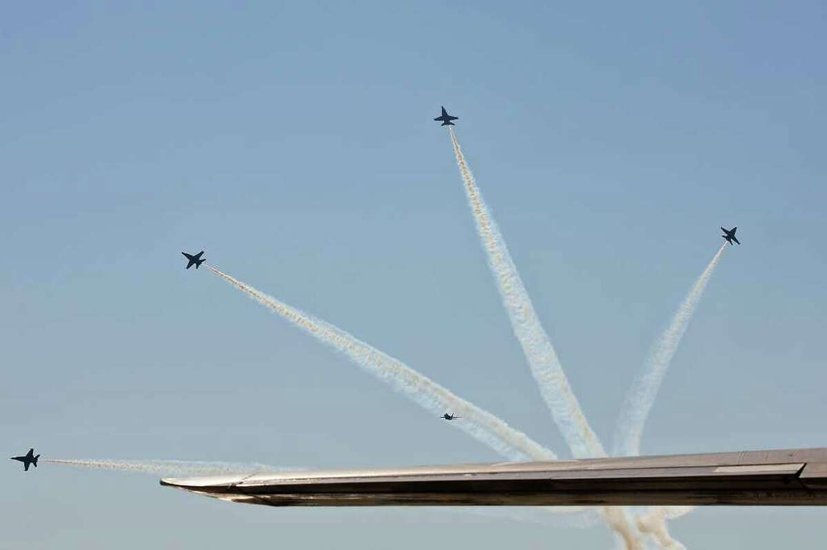The U.S. Navy Blue Angels performs during the finale of the yearly Randolph Air Show, Sunday, Oct. 30, 2011. It was the second and last day of the show at the base.