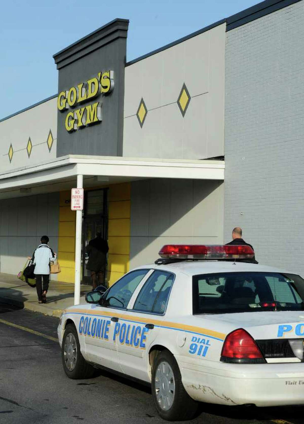 It's business as usual at Gold's Gym in Latham, N.Y. after a man died after a struggle with Colonie Police at the gym early this morning October 31, 2011. (Skip Dickstein / Times Union)