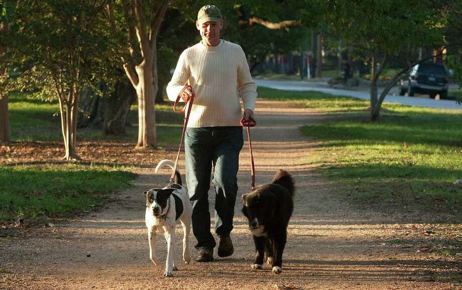 "Jim Bennett walks his dogs Milo, left, and Orson, right, down a trail on Heights Blvd., Monday, Oct. 31, 2011, in Houston. ""It's quite nice,"" Bennett said of the cool weather. Photo: Cody Duty / © 2011 Houston Chronicle"