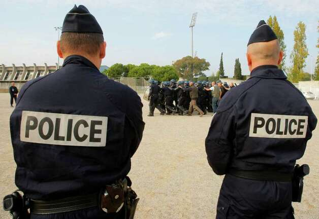 French police officers are seen during a training session in Nice ahead of the G20 summit of Cannes, southeastern France, Monday, Oct. 31, 2011. G20 leaders will gather in Cannes for the final summit of France's presidency Nov. 3 and 4, 2011. Photo: Michel Spingler, AP / AP