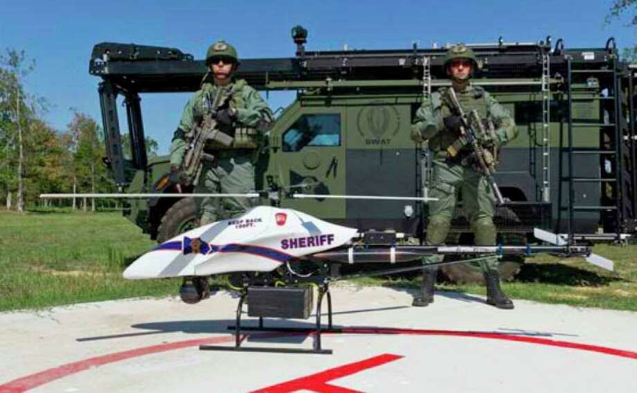 "MONTGOMERY COUNTY SHERIFF'S OFFICE HED: As the Montgomery County Sheriff's Office gears up to employ an unmanned helicopter to hunt criminals and find missing persons, a civil liberties advocate said drones can hurt more than they help. Chief Deputy Randy McDaniel of the sheriff's office said the $300,000 ShadowHawk drone - purchased from Vanguard Defense Industries - will take to the skies in the coming months to provide another tool in the law-enforcement arsenal. ""It's an exciting piece of equipment for us,"" he said. ""We envision a lot of its uses primarily in the realm of public safety - looking at recovery of lost individuals and being able to utilize it for fire(fighting) issues."" Photo: Dan Norris"